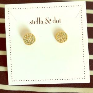 Stella & Dot Gold Pave Disc Earrings